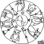Mandala, kočky a sovy